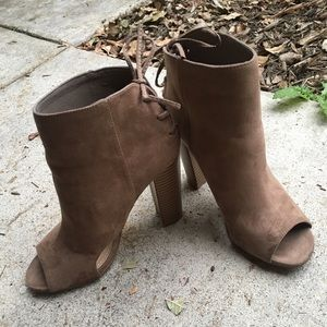 Taupe Suede Open Toe Bootie